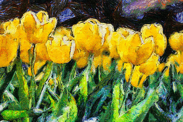 pintura de tulipanes