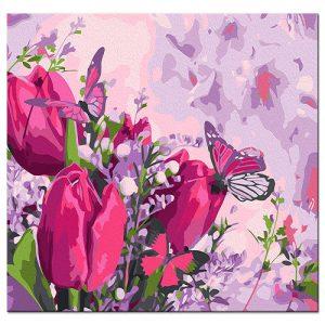cuadro-tulipanes-acuarelas-mariposas