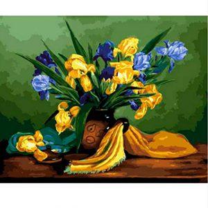 cuadro-tulipanes-jarrón-azul-amarillo